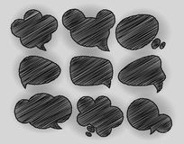 Speech Bubbles Pen Shading effect sets Royalty Free Stock Image