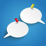 2 Speech Bubbles Pins. Infographic design with 2 speech bubbles and pins on the blue background vector illustration