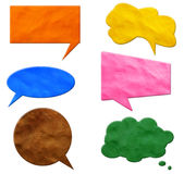 Speech Bubbles plasticine. Isolated on a white background Stock Photos