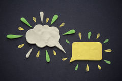 Speech bubbles of plasticine or clay Stock Images