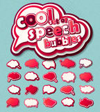 Speech bubbles, pop art style. Pink 3d stickers, comic book Stock Image