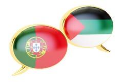 Speech bubbles, Portuguese-Arab conversation concept. 3D renderi. Speech bubbles, Portuguese-Arab conversation concept. 3D Royalty Free Stock Image