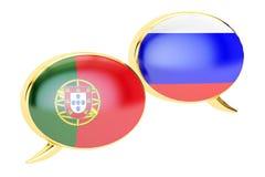 Speech bubbles, Portuguese-Russian conversation concept. 3D rend Royalty Free Stock Photo