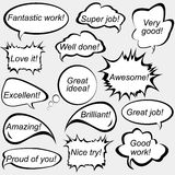Speech bubbles with positive feedback messages Royalty Free Stock Photo