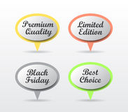 Speech bubbles. Premium quality, Limited edition, Black Friday, Best choice Royalty Free Stock Image