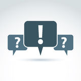 Speech bubbles with punctuation symbols, call center icon. Quest Stock Photo