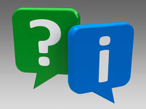 Speech bubbles - question and information. Question and information speech bubble icons, three-dimensional rendering Royalty Free Stock Image