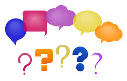 Speech bubbles and questions. Discussion - speech bubbles and question marks. Vector illustration, fully editable, you can change form and color Royalty Free Stock Images