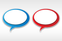 Speech bubbles. In red and white and blue and white color combination royalty free illustration