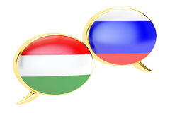 Speech bubbles, Russian-Hungarian conversation concept. 3D rende Royalty Free Stock Image