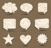 Speech bubbles and sample shapes from the crumpled Royalty Free Stock Photos