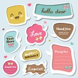 Speech bubbles set. Set of cute speech bubbles, stickers, text box template