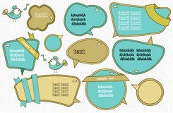 Speech bubbles set. With cute bird Royalty Free Stock Images