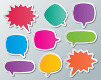Speech bubbles. Set of blank multi colored paper speech bubbles. infographic elements vector illustration