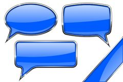 Speech bubbles. Set of blue communication 3d icons with chrome frame. Vector illustration isolated on white background Royalty Free Stock Photo