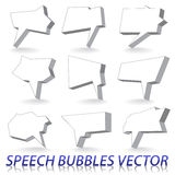 Speech bubbles. Set of 3d speech bubbles. Two colored vector image stock illustration