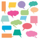 Speech bubbles set. Dashed line bordered speech bubbles. Full editable vector file. EPS Royalty Free Illustration