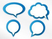 Speech bubbles set. Set of four blue and white speech bubbles vector illustration