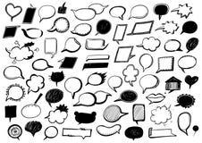 Speech bubbles set hand drawn doodle illustration Royalty Free Stock Photo