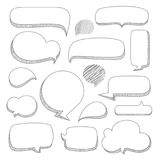 Speech bubbles. Set of hand drawn doodle style stock illustration