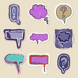 Speech bubbles set. Hand drawn and isolated Royalty Free Stock Photography