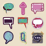 Speech bubbles set. Hand drawn and isolated Stock Images