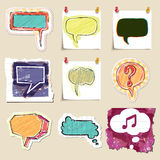 Speech bubbles set. Hand drawn and isolated Stock Photos