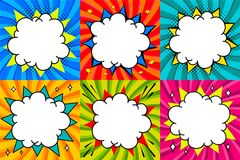 Speech bubbles set. Pop art styled blank speech bubbles template for your design. Clear empty bang comic speech bubbles. On colored twisted backgrounds. Ideal stock illustration