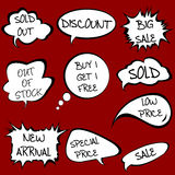 Speech bubbles set with sale messages Stock Photography