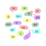 Speech bubbles set with short messages. Vector Stock Image