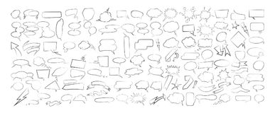 Speech bubbles set. Speech bubbles set on white background. Sketch style vector illustration