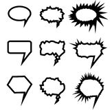 Speech bubbles set. White Vector icons isolated. Comic, pop art style. Doodle, sketch blank elements for speak, text, message vector illustration
