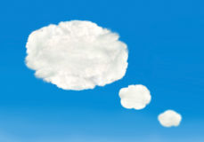 Speech bubbles in the shape of clouds Royalty Free Stock Photo