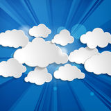 Speech bubbles in the shape of clouds with rays on a bl Royalty Free Stock Photos