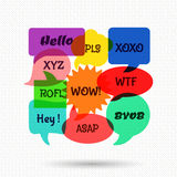 Speech bubbles with short messages. Communication dialog, discussion sign, web chat. Vector illustration Royalty Free Stock Images