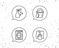 Cleaning spray, Washing machine and Housekeeping. Speech bubbles with signs. Cleaning spray, Washing machine and Housekeeping service line icons. Laundry Royalty Free Stock Images