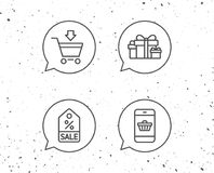 Gift box, Discount and Sale icons. Royalty Free Stock Photography