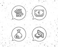 Money bag, Cashback and ATM line icons. Royalty Free Stock Images