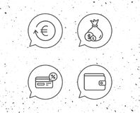 Money, Cashback and Wallet line icons. Coins. Royalty Free Stock Images