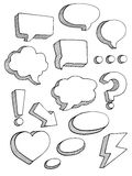 Speech bubbles sketch style vector set. On white background Stock Photography