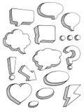 Speech bubbles sketch style vector set Stock Photography
