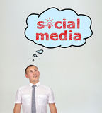 Speech bubbles with social media Stock Photo