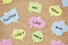 Speech bubbles with social media concepts on pinboard. Speech bubbles with social media concepts on cork pinboard Royalty Free Stock Images