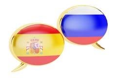 Speech bubbles, Spanish-Russiantranslation concept. 3D renderi Royalty Free Stock Photo