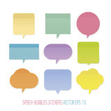 Speech Bubbles stickers. In pastel colors Royalty Free Stock Images