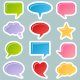 Speech Bubbles Stickers Set. Collection of 12 colorful speech bubbles stickers. Eps file available Royalty Free Stock Images