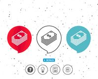Cash money line icon. Banking currency. Speech bubbles with symbol. Cash money line icon. Banking currency sign. Dollar or USD symbol. Bonus with different Royalty Free Stock Photo