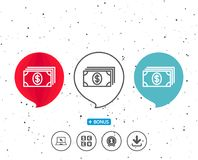Cash money line icon. Banking currency. Speech bubbles with symbol. Cash money line icon. Banking currency sign. Dollar or USD symbol. Bonus with different Stock Photography