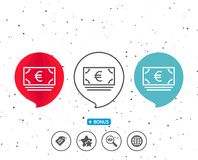 Cash money line icon. Banking currency. Speech bubbles with symbol. Cash money line icon. Banking currency sign. Euro or EUR symbol. Bonus with different Stock Photos