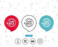 Cashback service line icon. Money transfer. Stock Photography